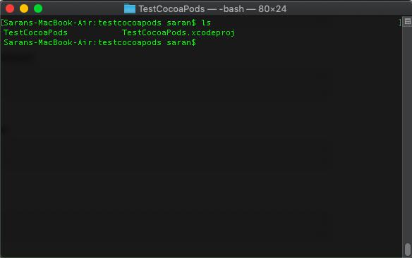 ภาพที่ 2 ใช้คำสั่ง ls จะเห็นไฟล์ xcode project กับ folder