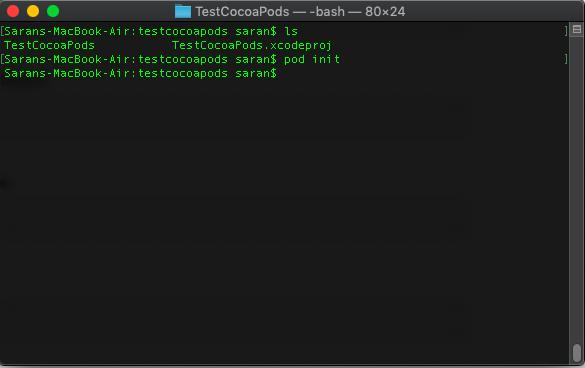 ภาพที่ 3 ใช้คำสั่ง pod init เพื่อติดตั้ง podfile ใน xcode project
