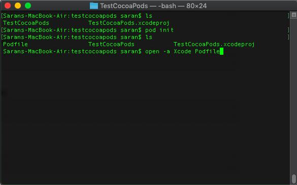 ภาพที่ 5 คำสั่งเปิด Podfile ใน xcode