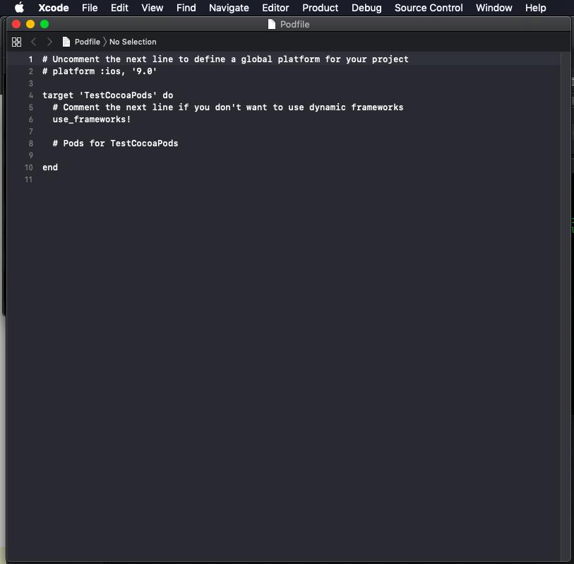 ภาพที่ 6 เปิด Podfile ใน xcode